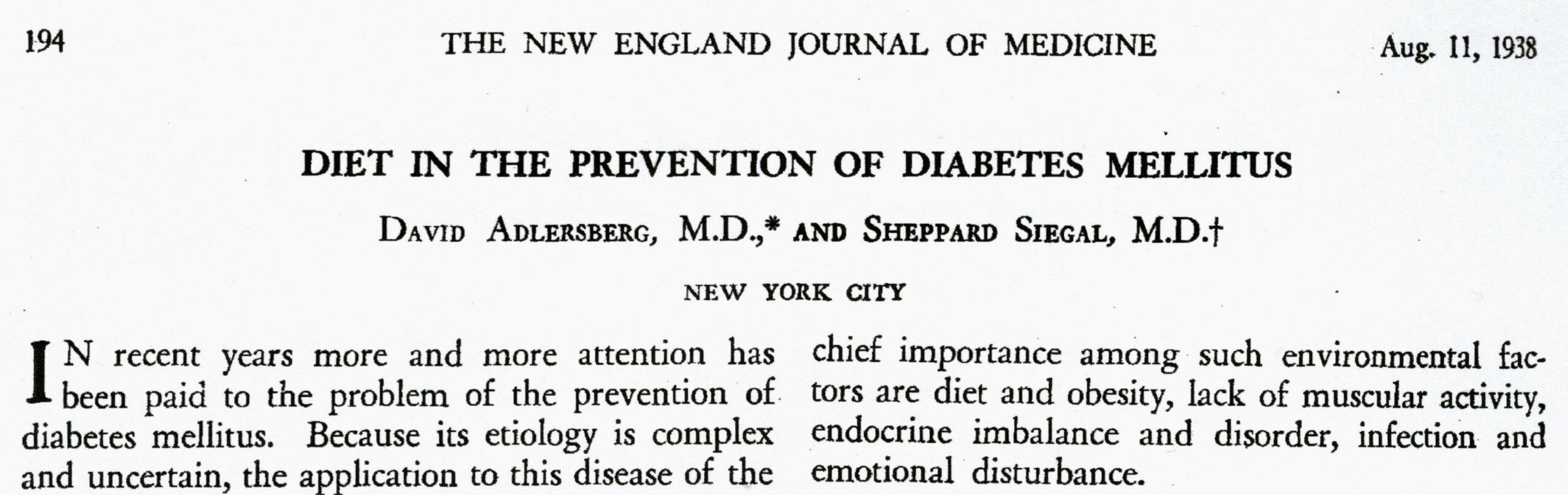 New England Journal of Medicine 1938
