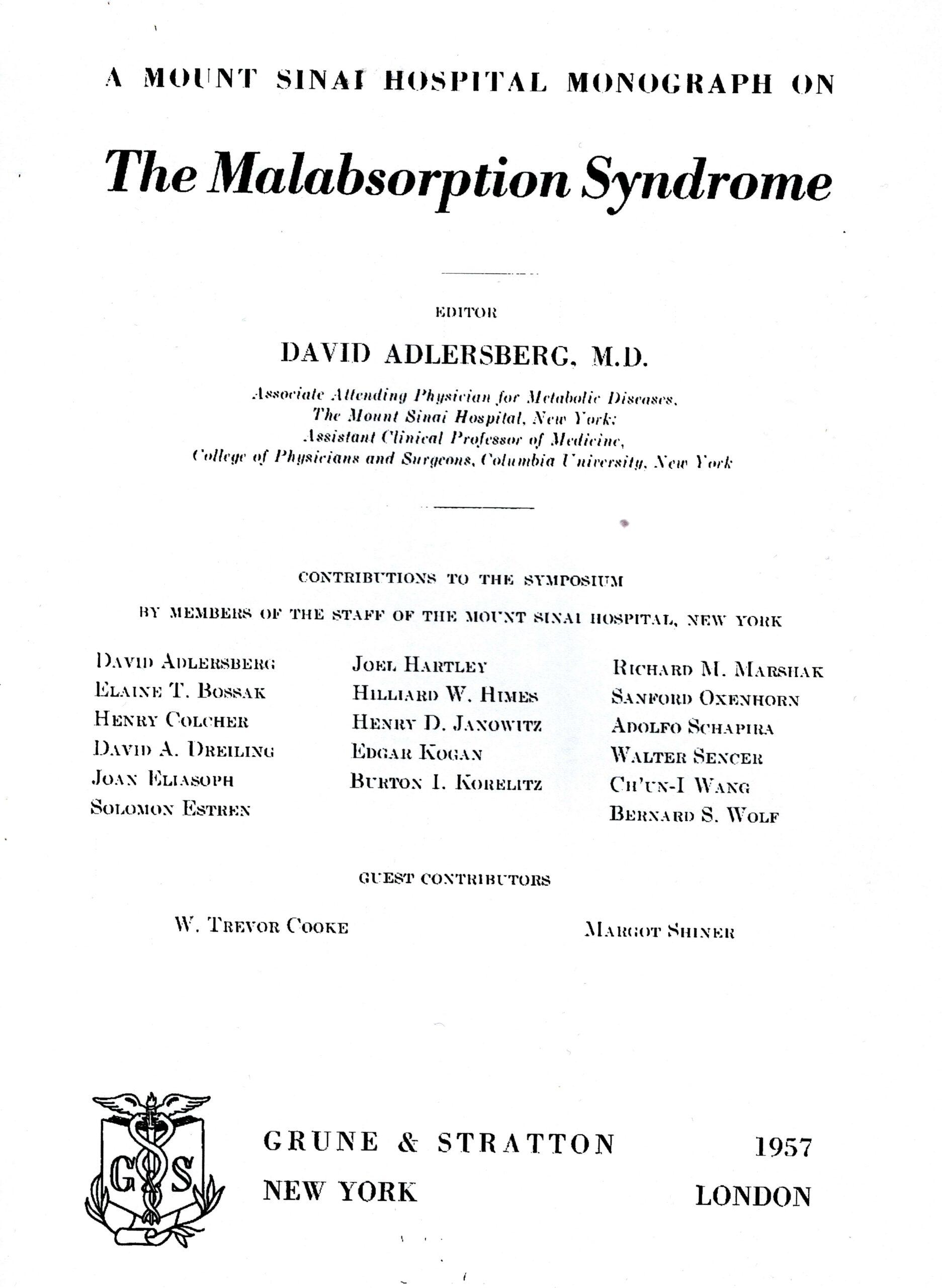 Symposiumsband zur Malabsorption von Adlersberg