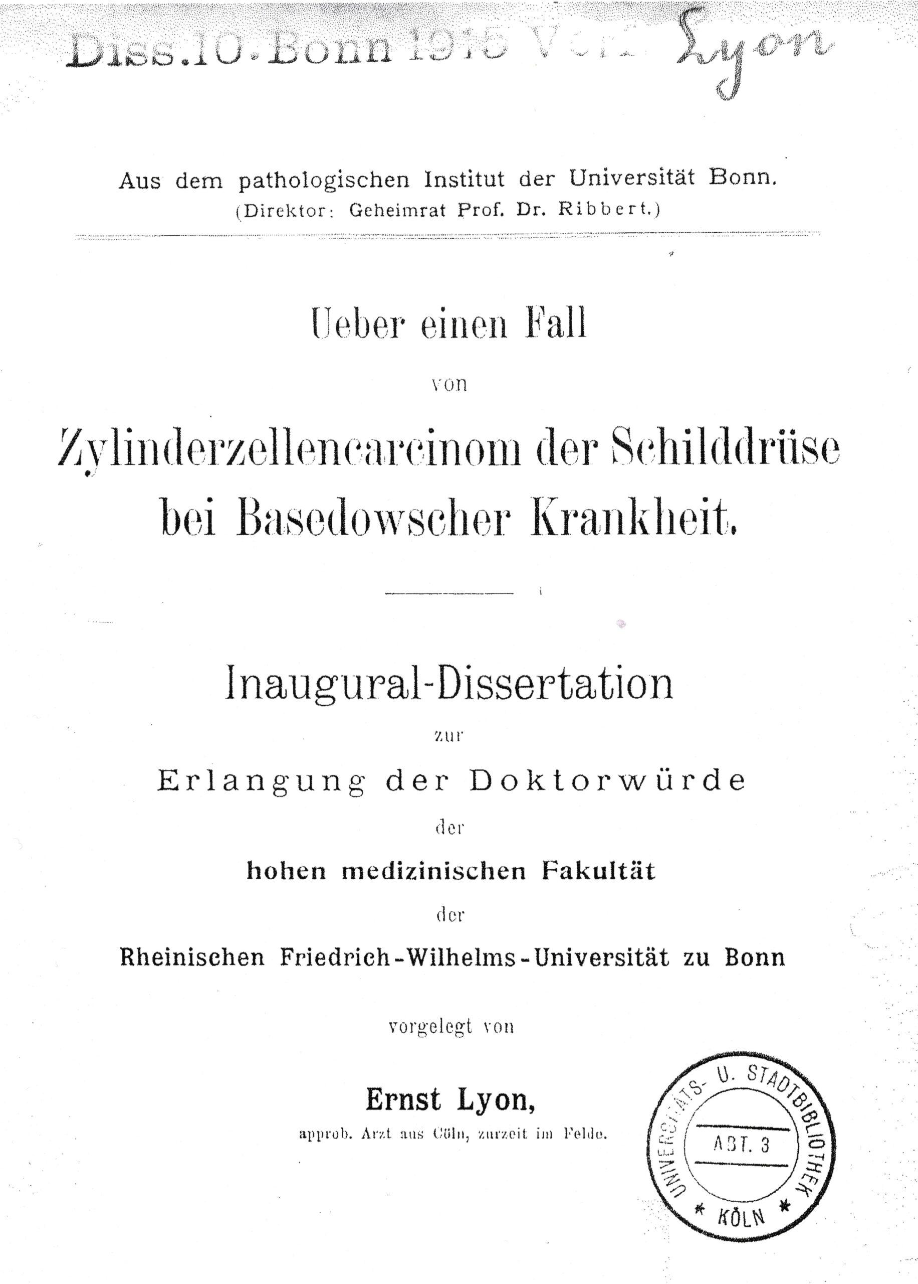 Dissertation, Bonn 1915
