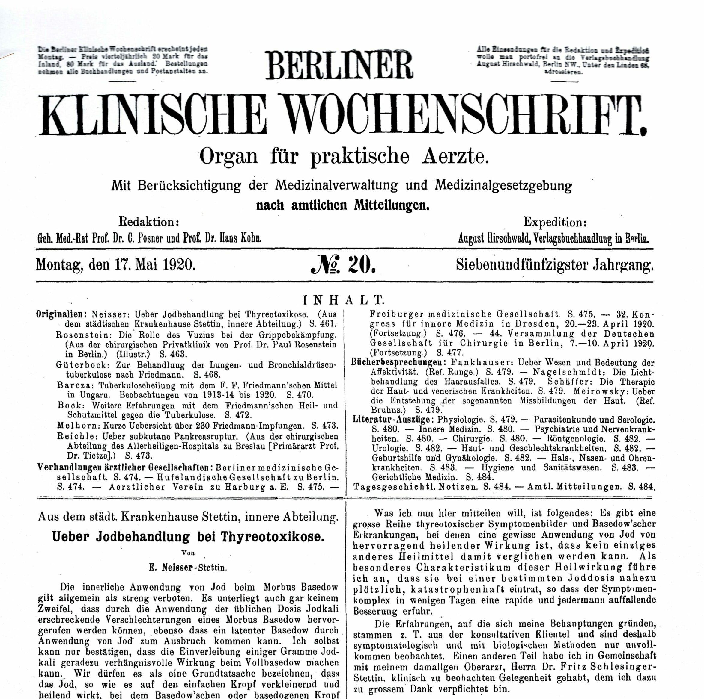 Berliner Klinische Wochenschrift 1920