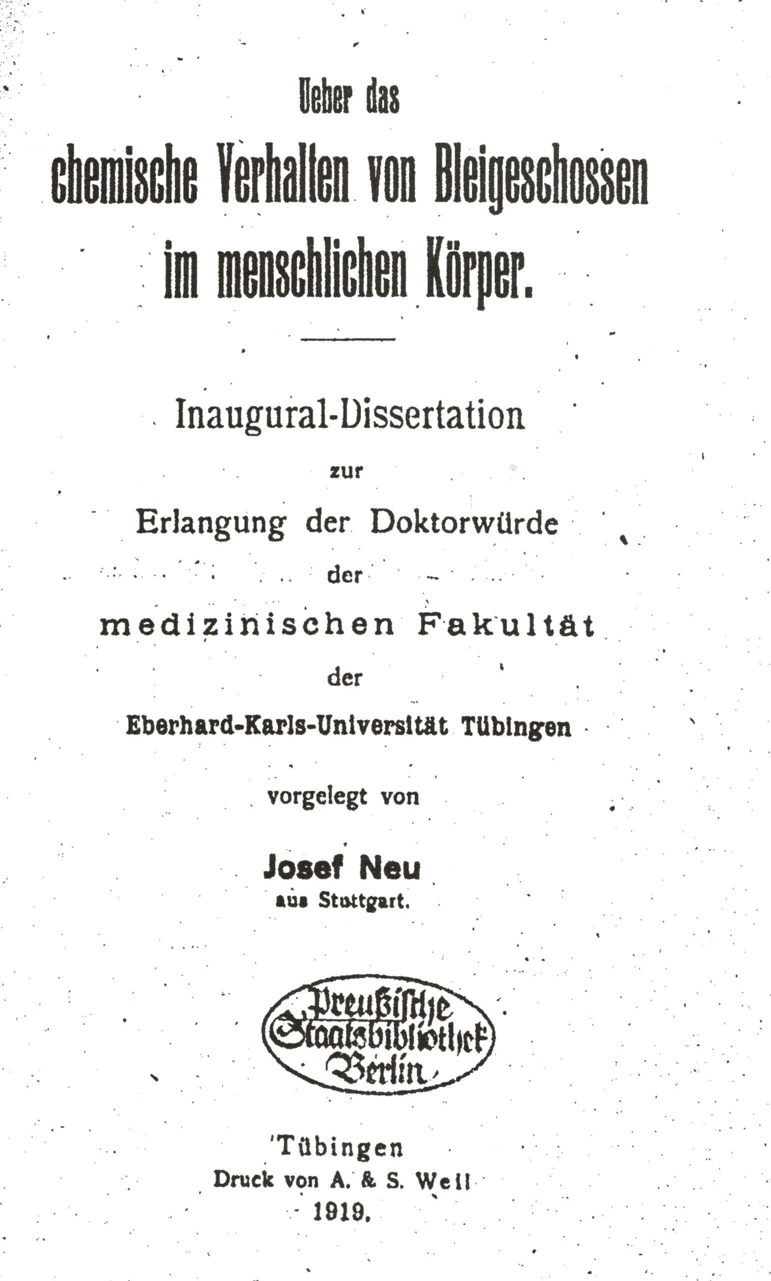 Dissertation, Tübingen 1919
