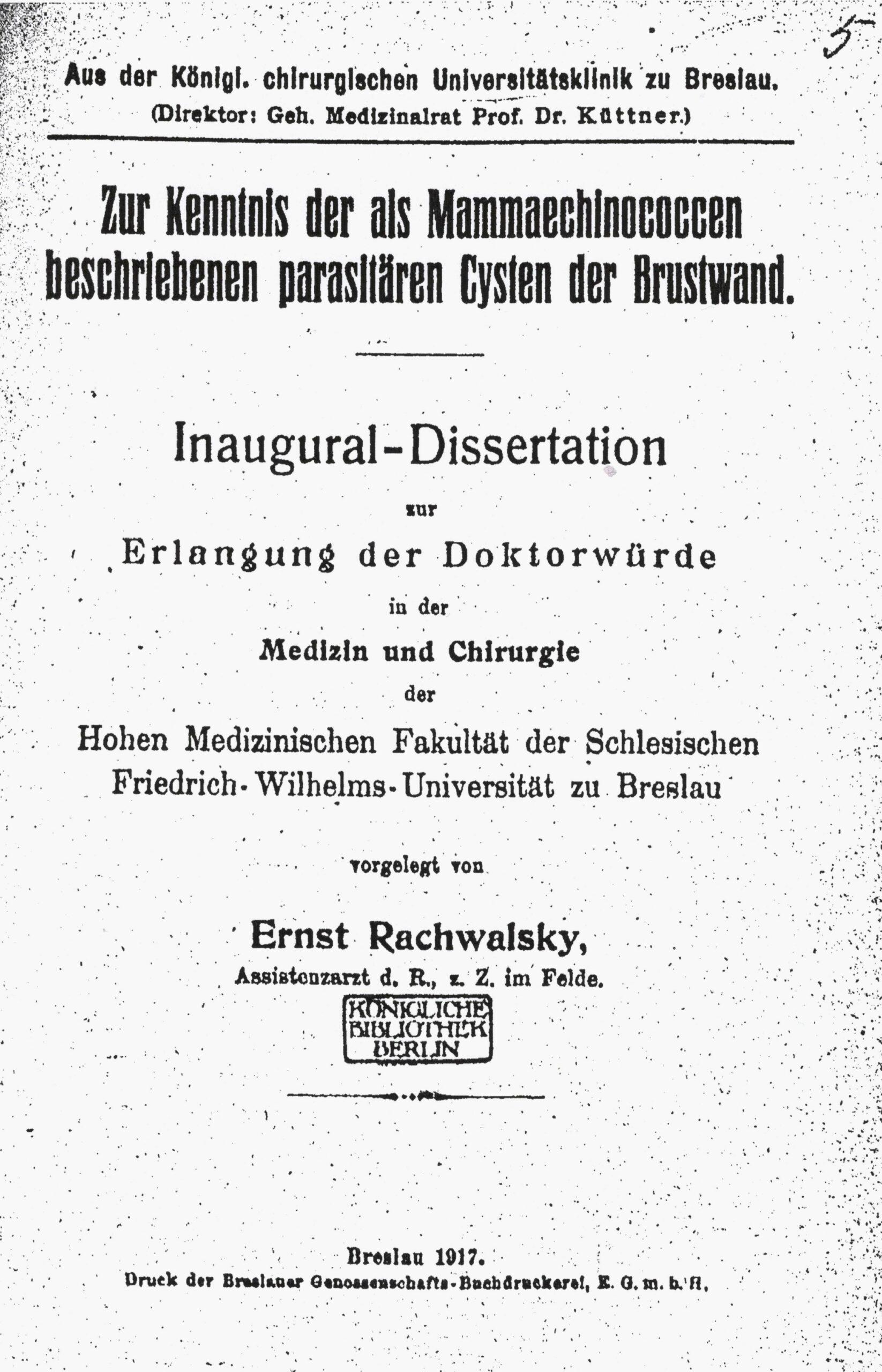 Dissertation, Breslau 1917