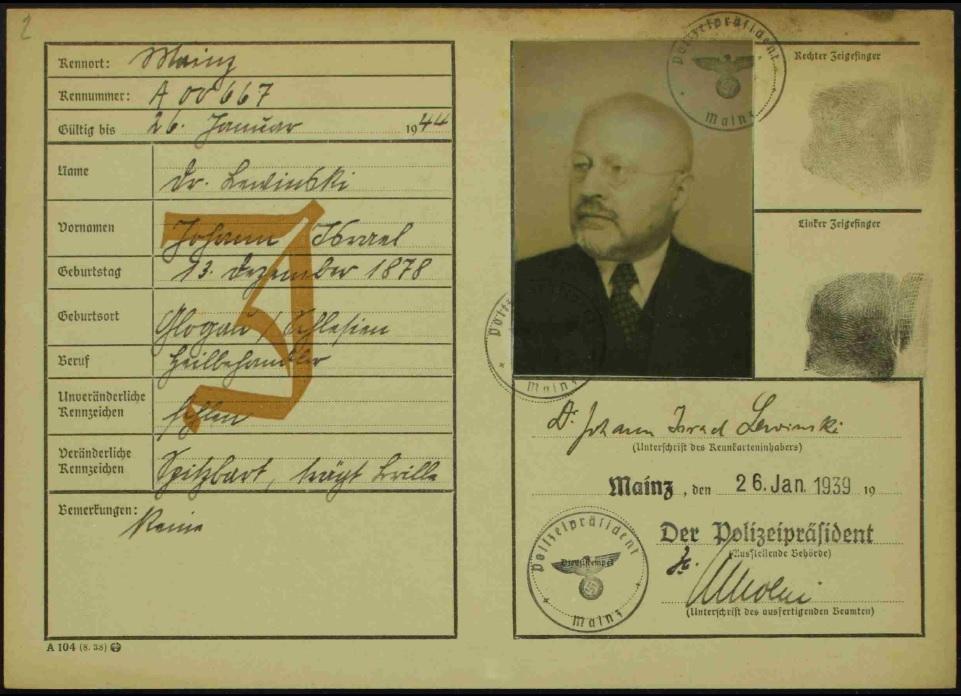 Kennkarte Johann Lewinskis, <br> Mainz 1939 © Zentralarchiv zur Erforschung der Geschichte der Juden in Deutschland, Heidelberg