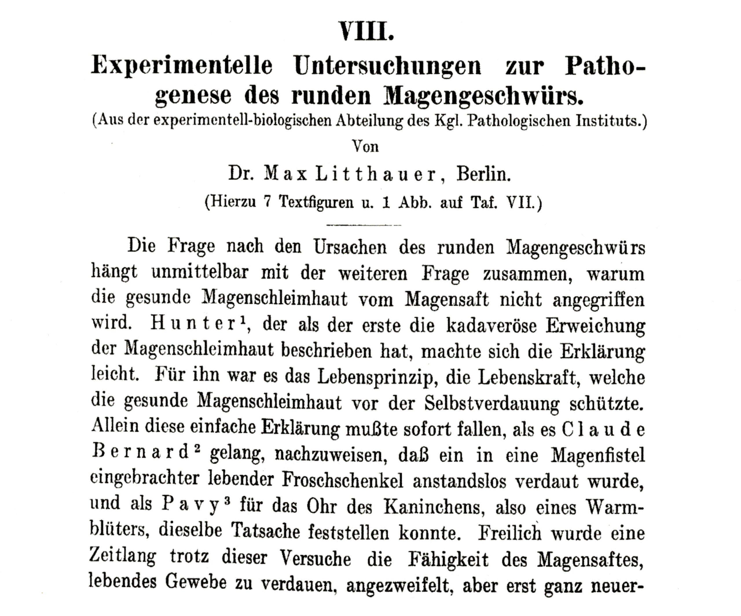 Litthauers Beitrag über das runde Magengeschwür, Virchows Archiv 1909