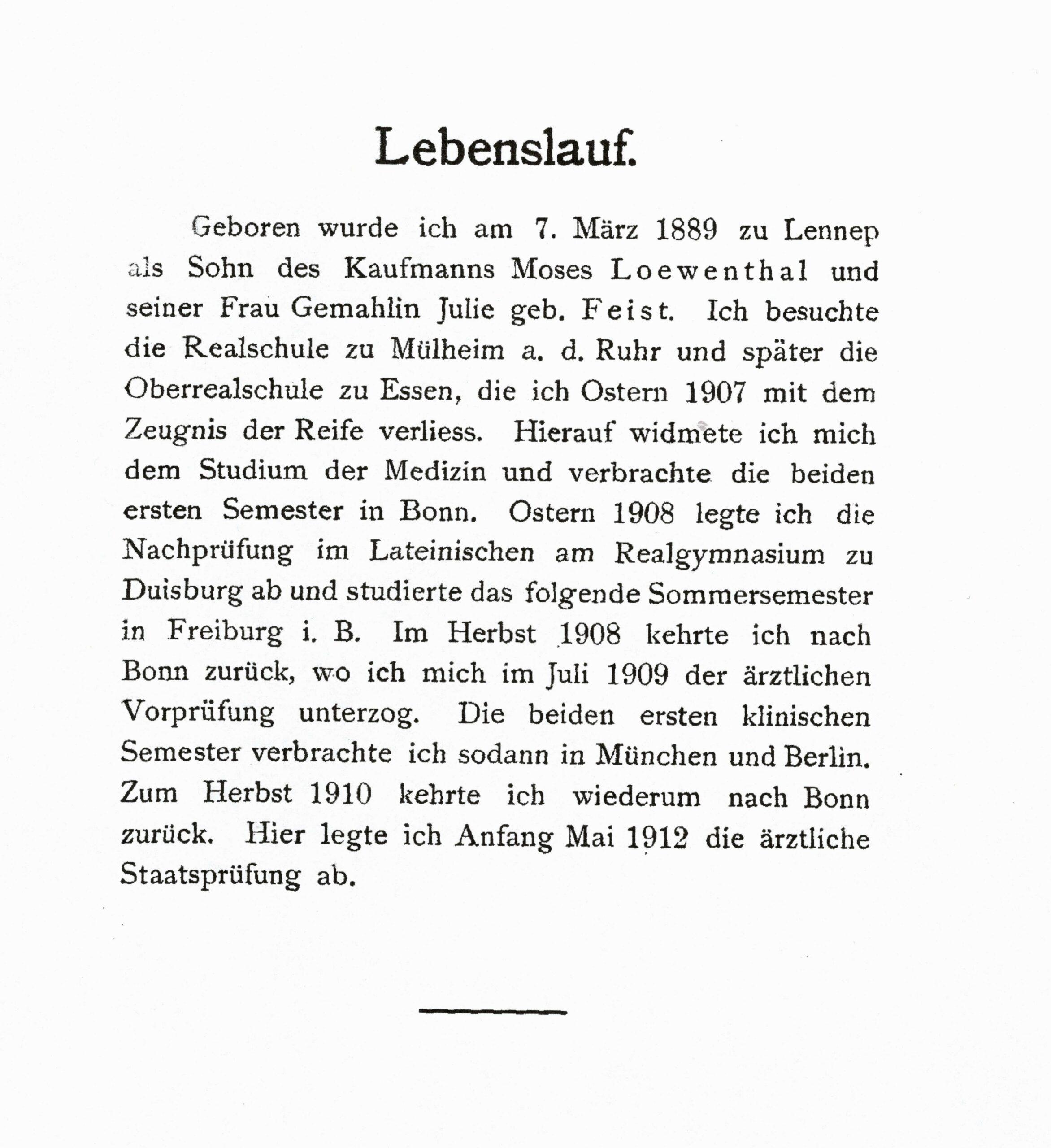 Lebenslauf in seiner Dissertationsschrift, 1912