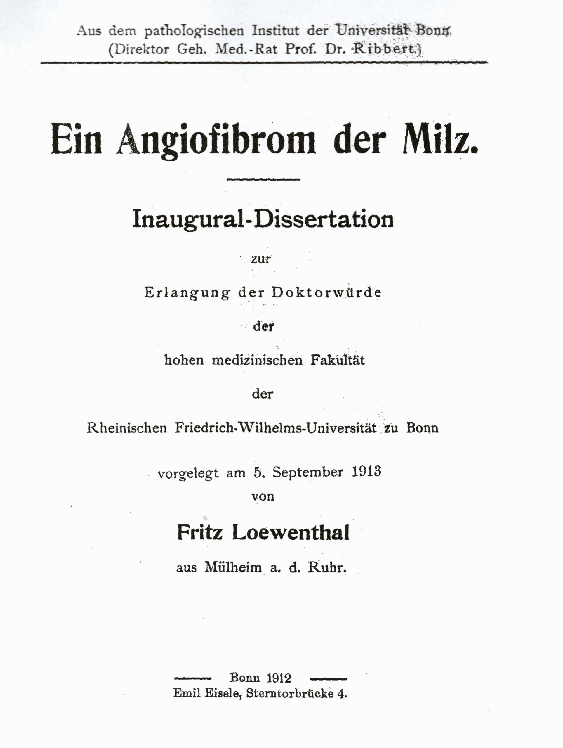 Dissertation, Bonn 1912
