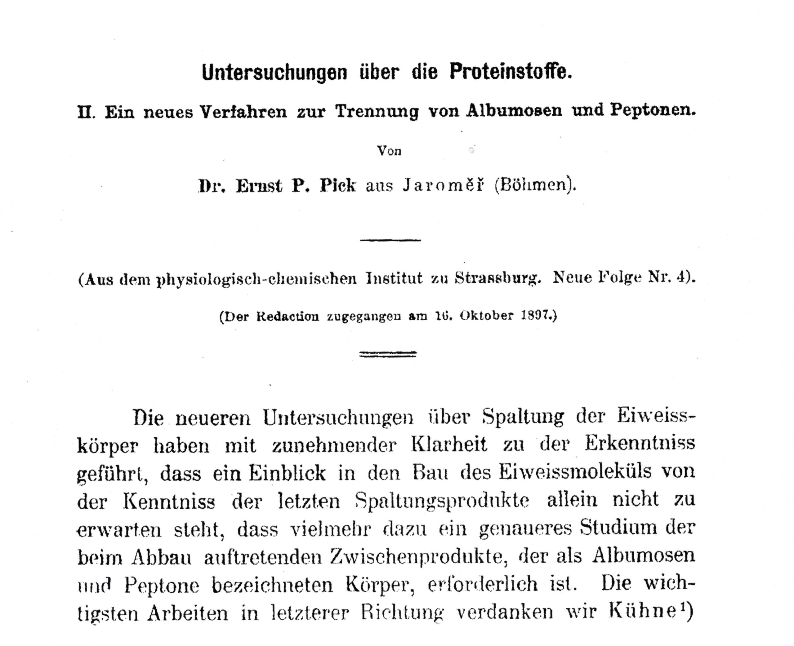 Hoppe-Seyler's Ztschr physiol Chem 1897