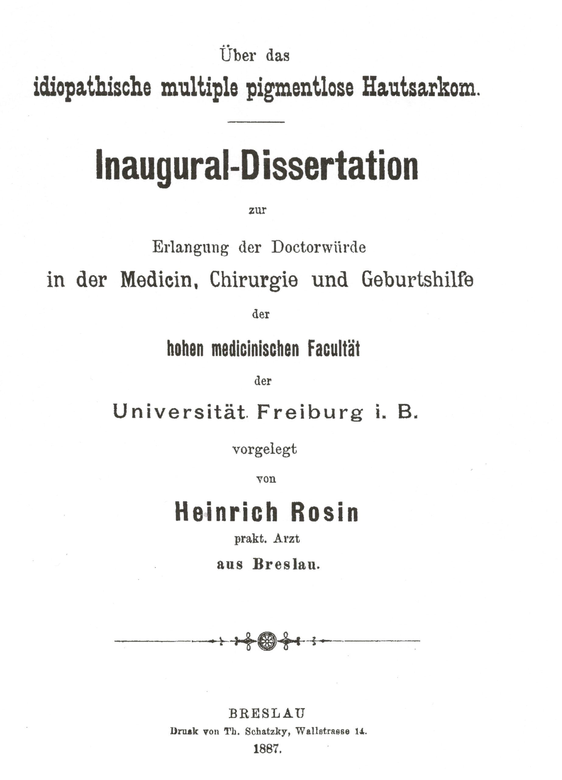 Dissertation, Freiburg 1884