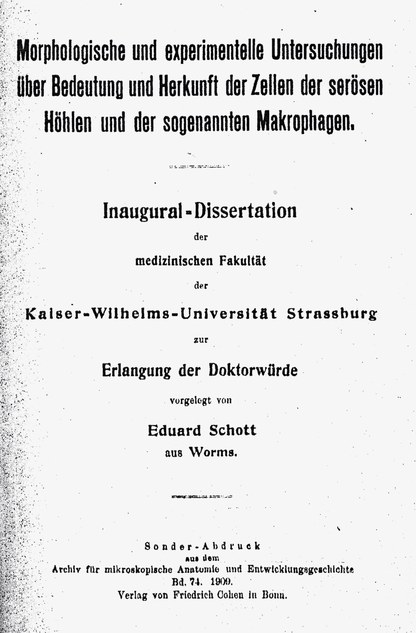 Dissertation, Straßburg 1909