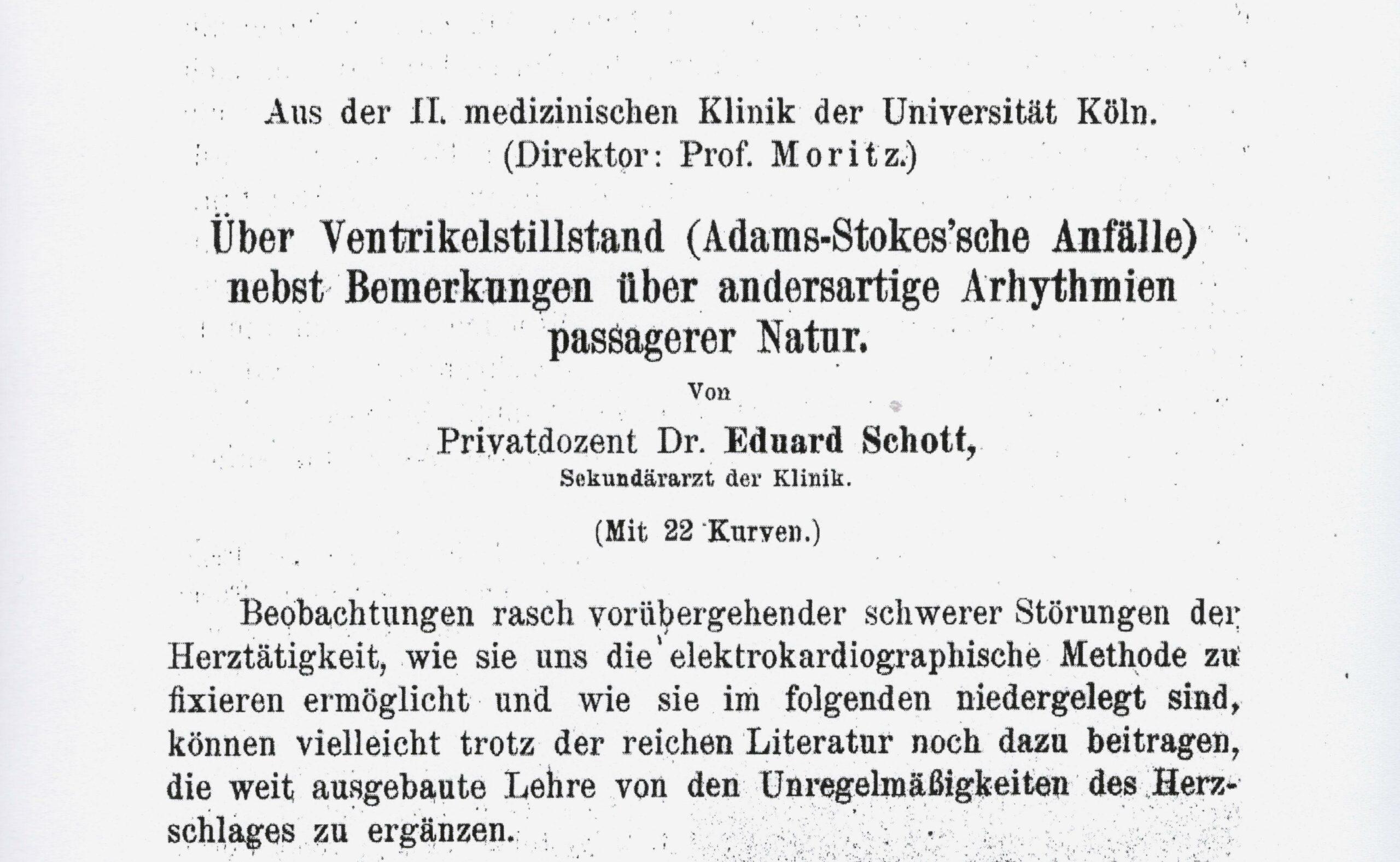 Schotts Beitrag zum präkordialen Faustschlag, Dtsch Arch Klin Med 1920