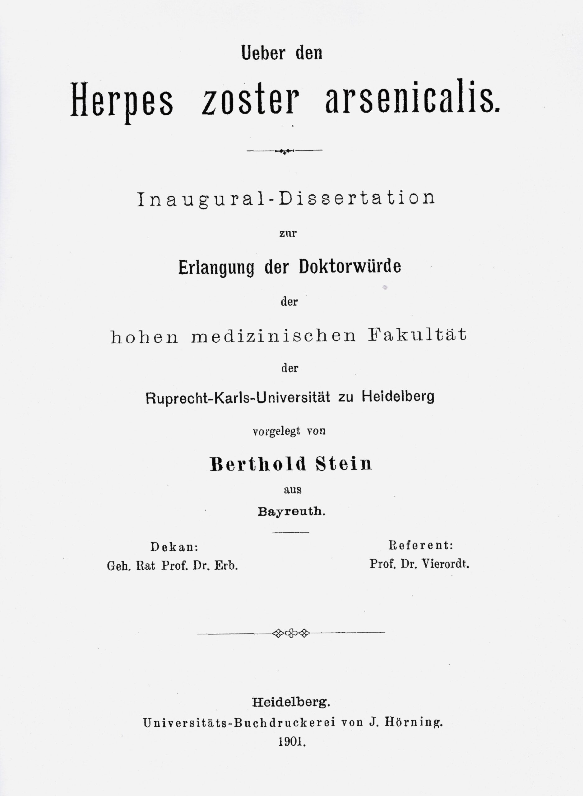 Dissertation, Heidelberg 1901