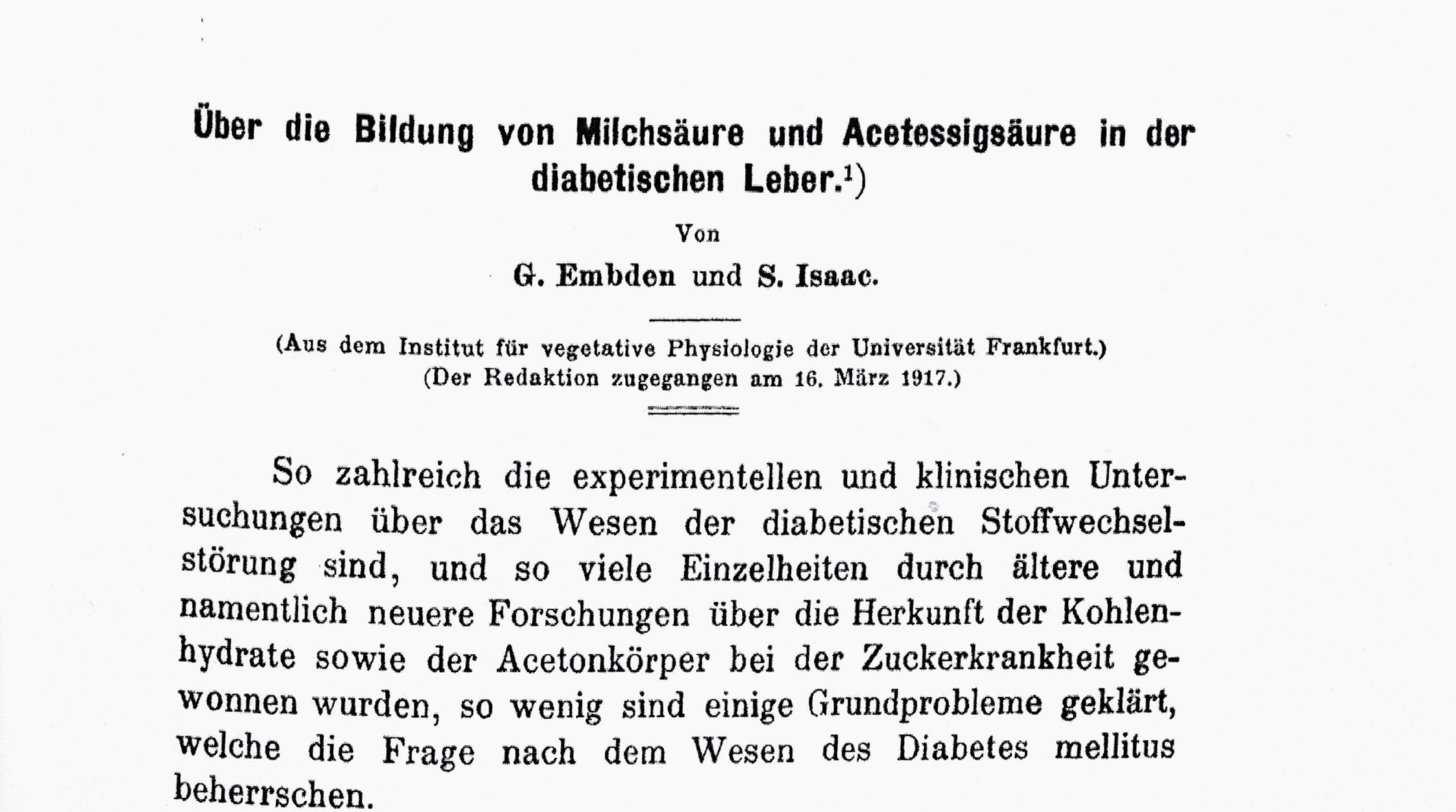 Arbeit mit G. Embden, Hoppe Seylers Ztschr Physiol Chem, 1917