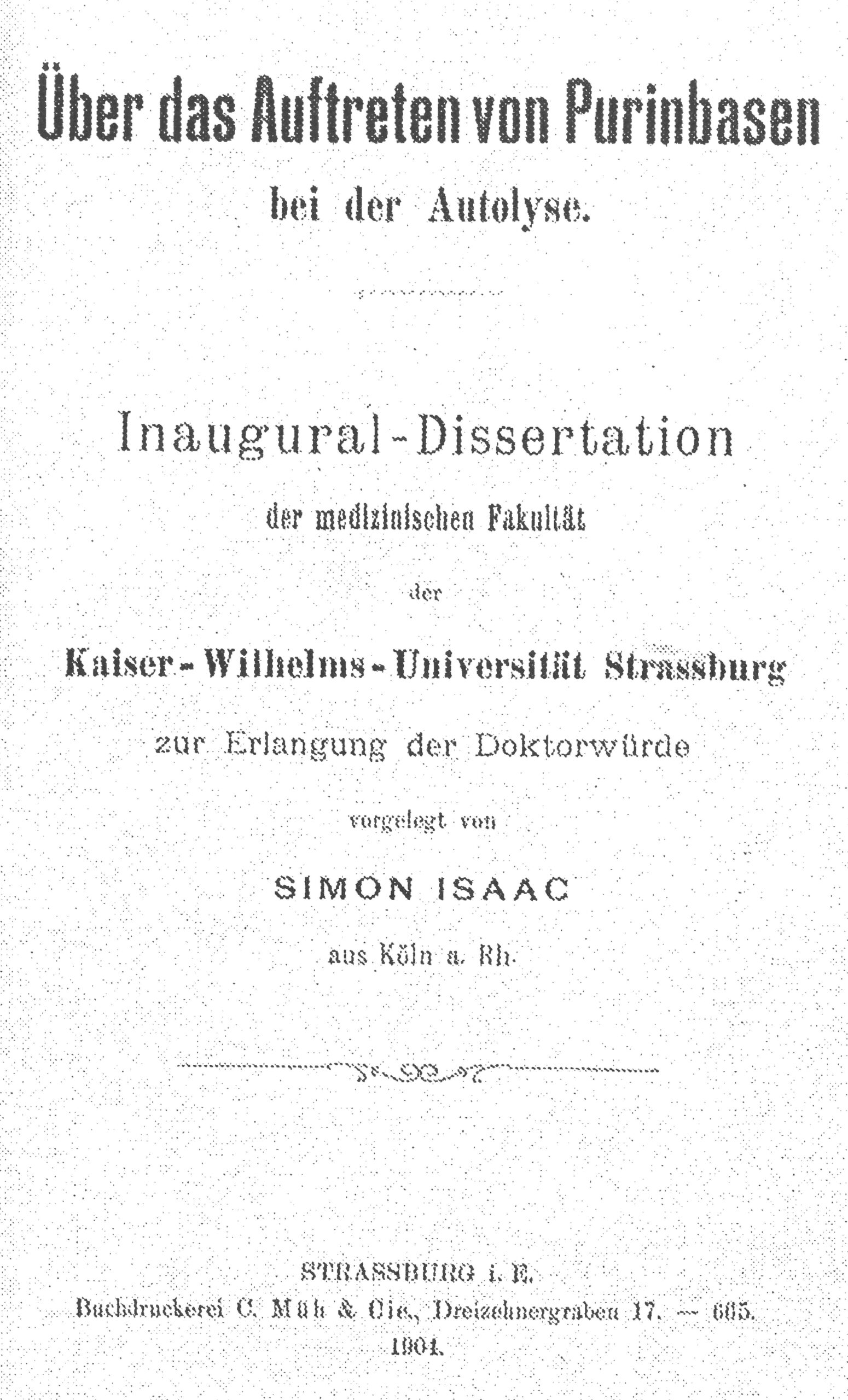 Dissertation, Straßburg 1901