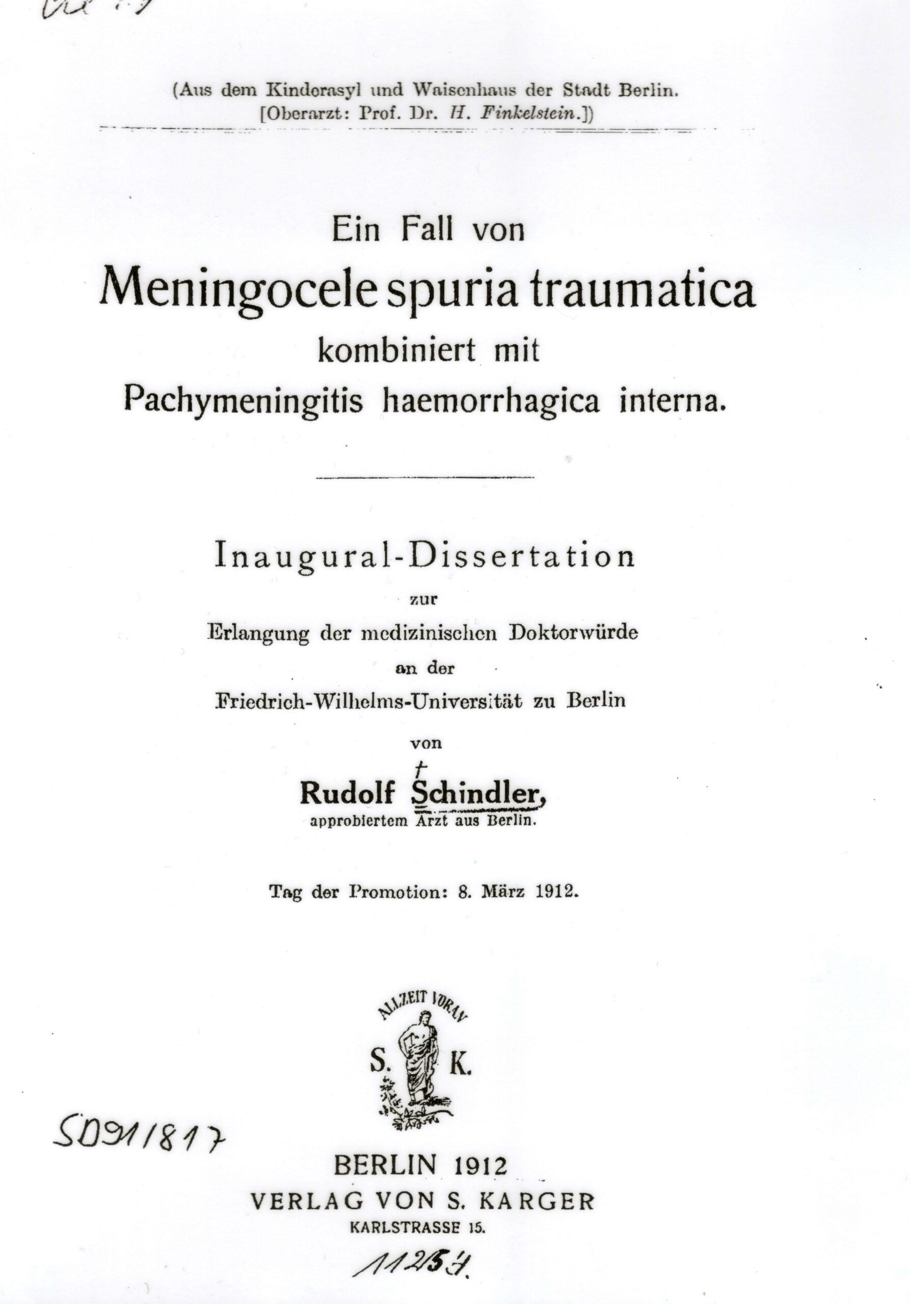 Dissertation, Berlin 1912