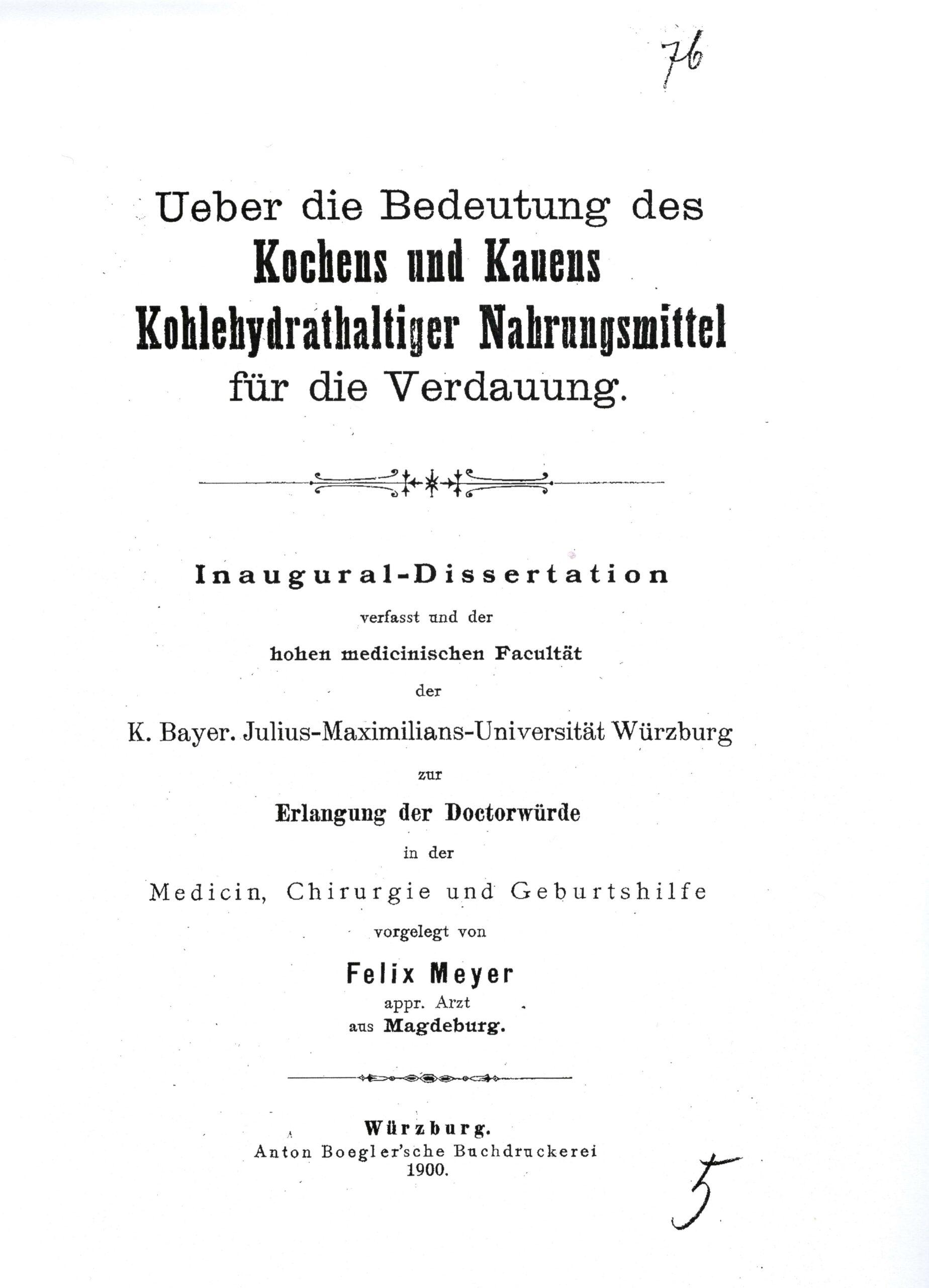 Dissertation, Würzburg 1900