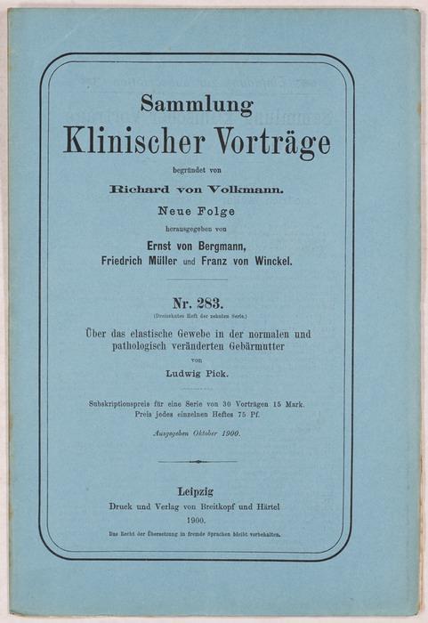 Sammlung Klinischer Vorträge 1900