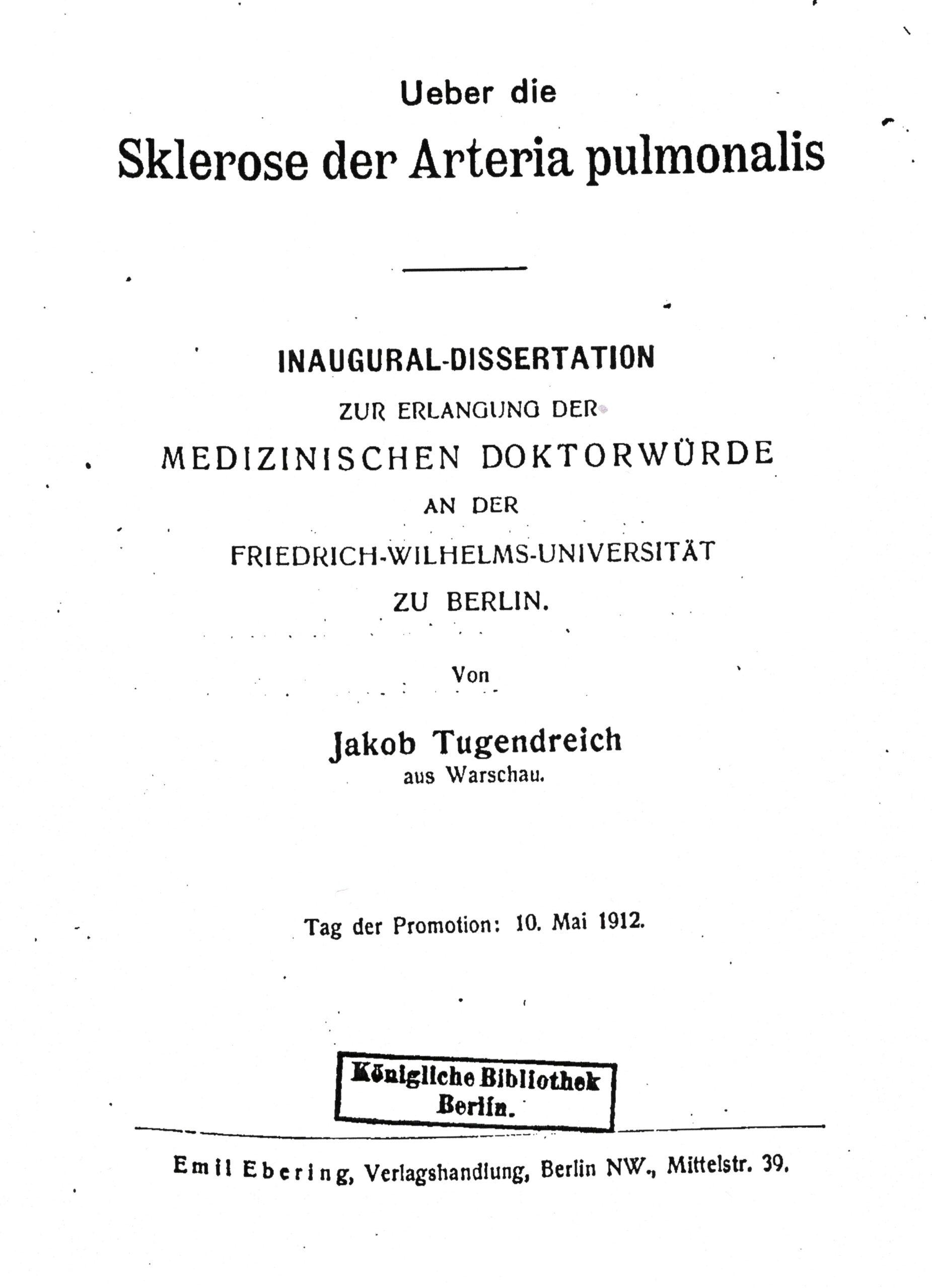 Dissertation, Berlin 1902