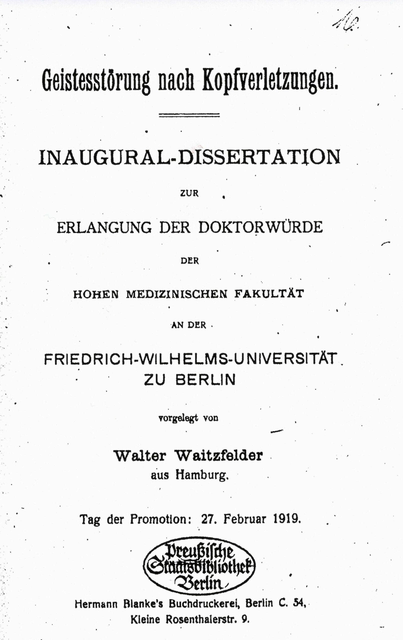 Dissertation, Berlin 1919