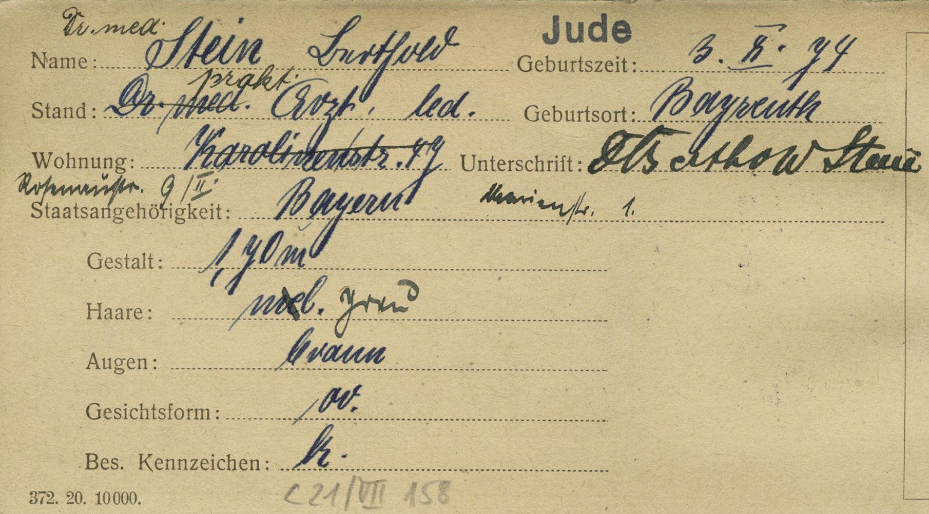 Bertholds Steins Meldekarte in der NS-Zeit © Stadtarchiv Nürnberg C21/VII Nr. 158, mit freundlicher Genehmigung