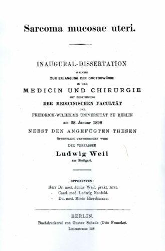 Dissertation, Berlin 1898